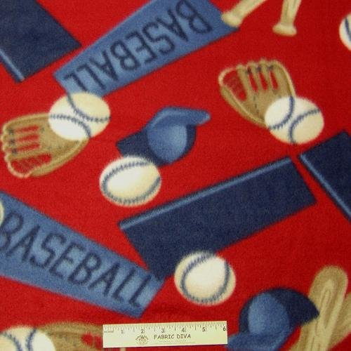 Baseball Gear Red  Fleece Fabric