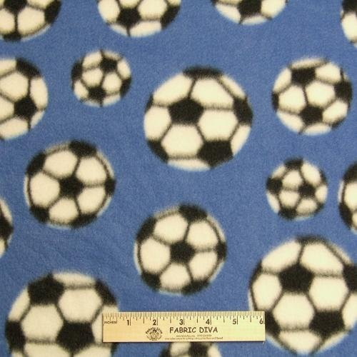 Soccer Blue Fleece Fabric