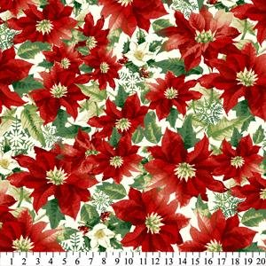 christmas poinsettia fleece fabric
