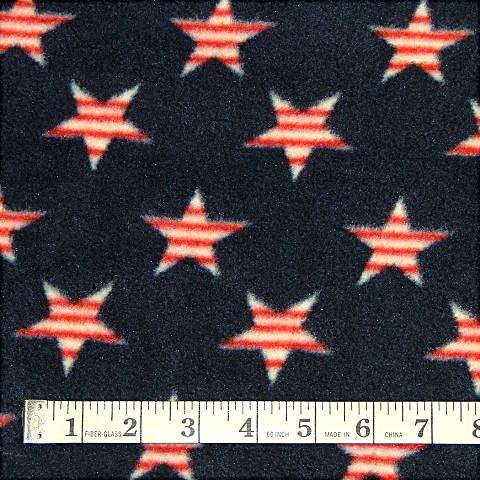 USA Striped Stars Navy Fleece Fabric