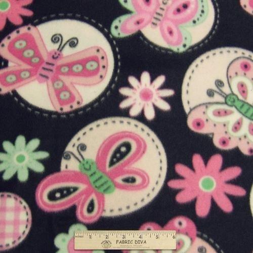 Butterfly & Flowers Black Fleece Fabric