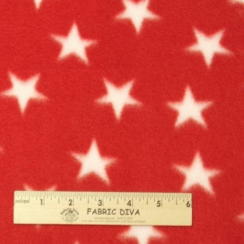 White Star on Red Fleece Fabric