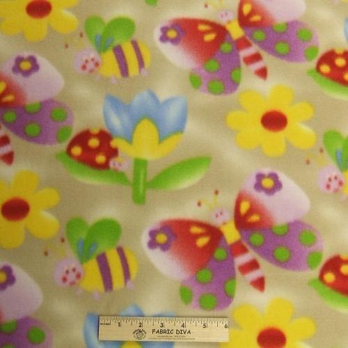 <B>2 YARDS</B>  Colorful Garden Tan Fleece Fabric