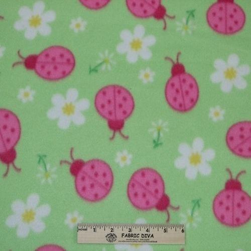 Ladybug and Daisy Green Fleece Fabric