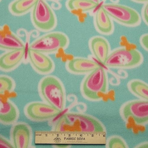 <B>2 YARDS</B>  Giant Butterfly Aqua Fleece Fabric
