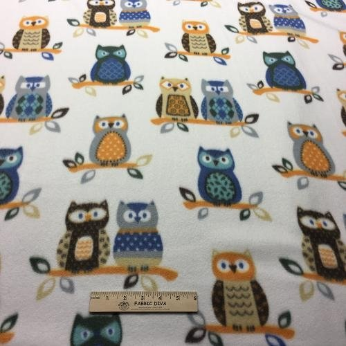 Owl Owls White Heavy Fleece Fabric