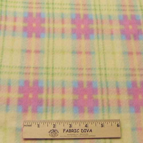 Pastel Yellow Plaid Fleece Fabric
