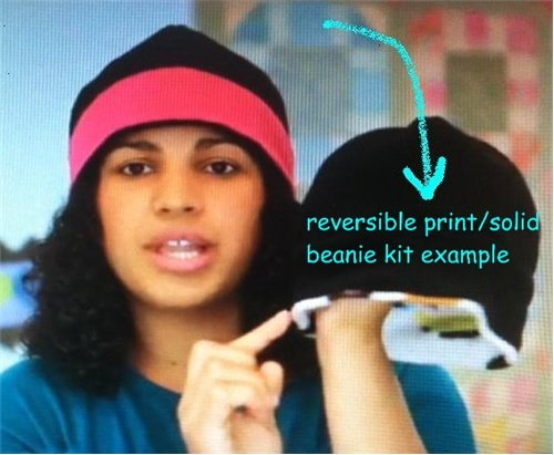 Print/Solid Color Reversible Fleece Beanie Hat Kit - ships for FREE!