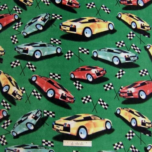Grand Prix Racecar  Fleece Fabric