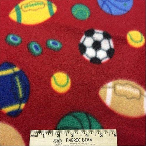 Multicolor Sport Ball Red  Fleece Fabric