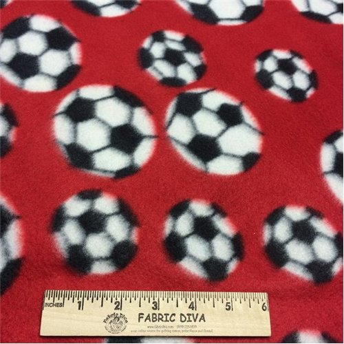 Soccer Ball Red  Fleece Fabric