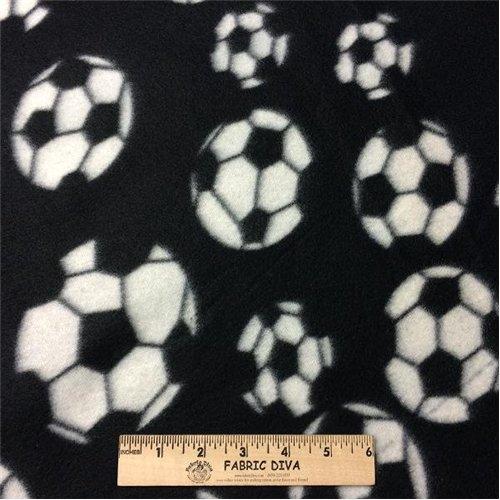 Soccer Ball Black Fleece Fabric