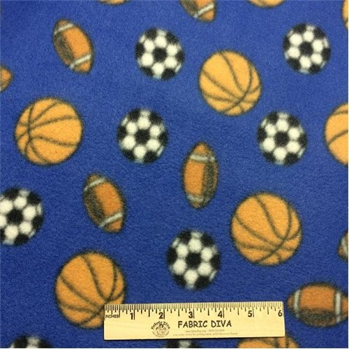 Little Football Soccer Basketball Blue  Fleece Fabric