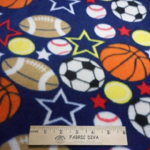 Sports Balls Navy Fleece Fabric