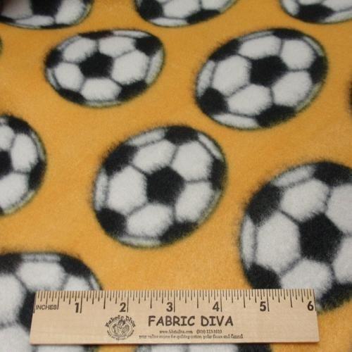 Soccer Gold Fleece Fabric