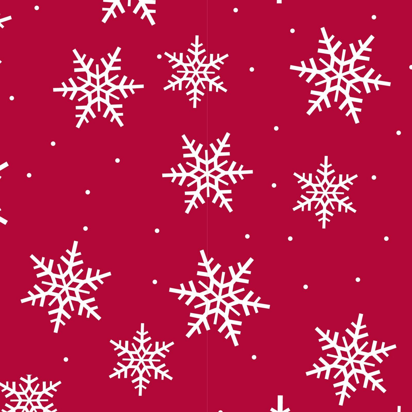 Snowflakes Red & White Fleece Fabric