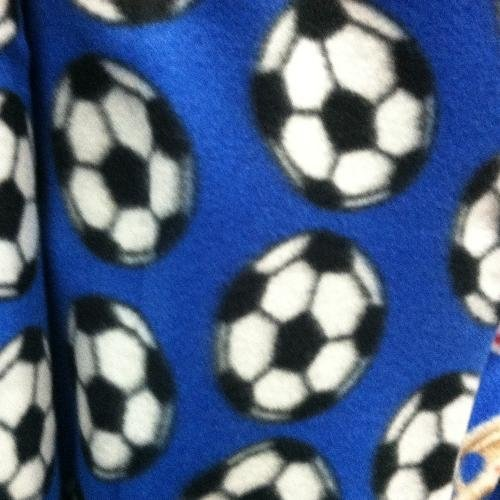 Soccer Ball Blue  Fleece Fabric