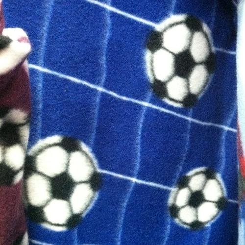 Soccer Ball Net Blue  Fleece Fabric