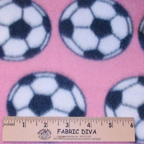 Soccer Pink Fleece Fabric