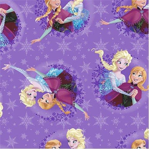 2 YARD LENGTH SALE! Fleece Disney Frozen Sisters Ice Skating Purple Fleece Fabric 53319
