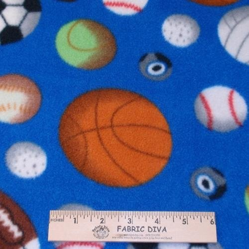 Sports Crazy Blue Antipill Fleece Fabric