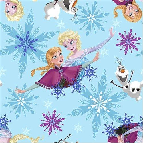 2 YARD LENGTH Fleece Disney Frozen Sisters Ice Skating Aqua Fleece Fabric 53318