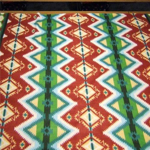 SW Aztec Border Stripe Green Fleece Fabric