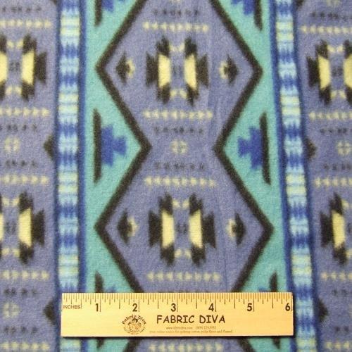 REMNANT 33 X 58 Southwest Stripe Blue  Fleece Fabric