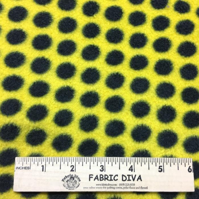 <B>2 YARDS</B>  Black Polka Dots on Yellow Fleece Fabric