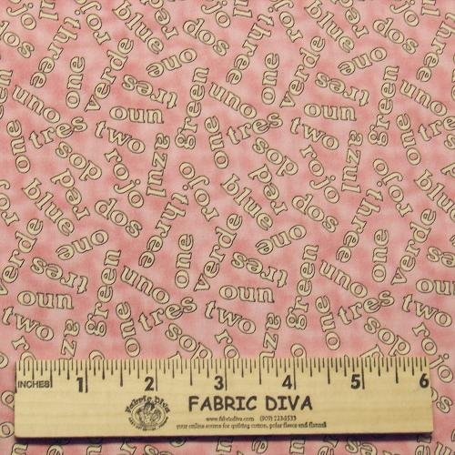 NEW! Cotton - Pink Uno Dos Tres Numbers Colors Words English Spanish