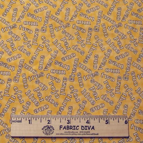 NEW! Cotton - Yellow Uno Dos Tres Numbers Words English Spanish