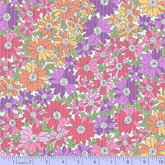 Pink, yellow and lavender colorwash floral