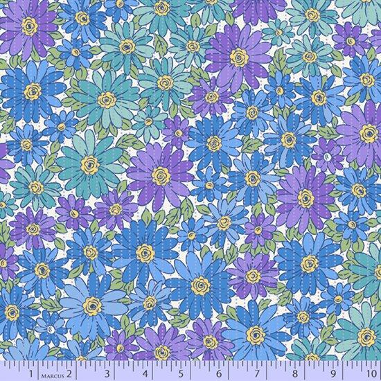 Lavender, blue and teal colorwash flowers