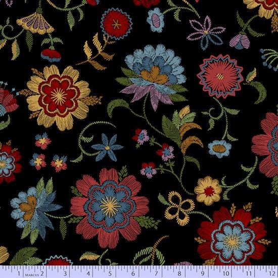 Crewel work flowers on black