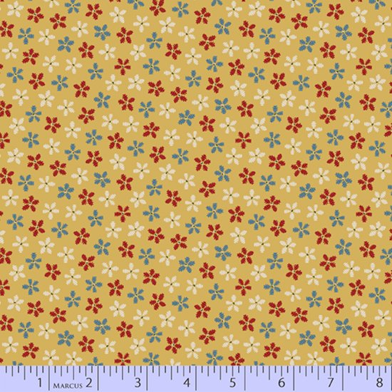 Stitched flowers on yellow