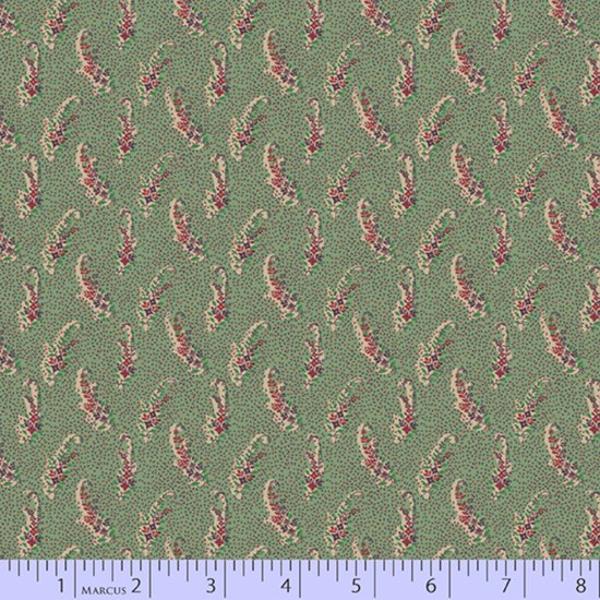 Tossed floral sprays on green