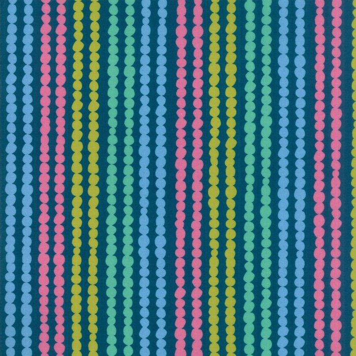 Teal floral stripe
