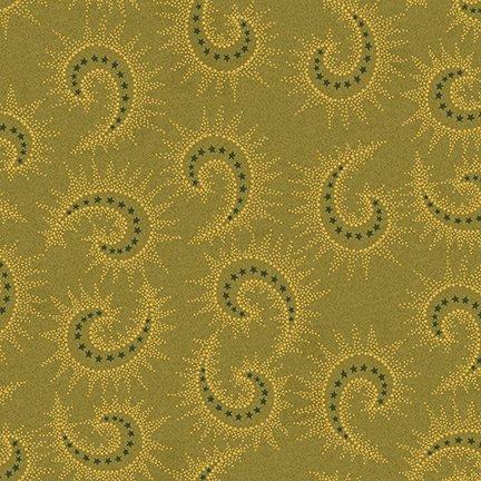 Green starburst paisley