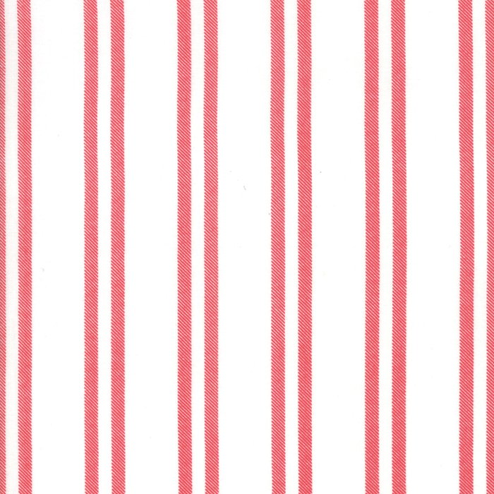 Snow & cranberry farmhouse stripe