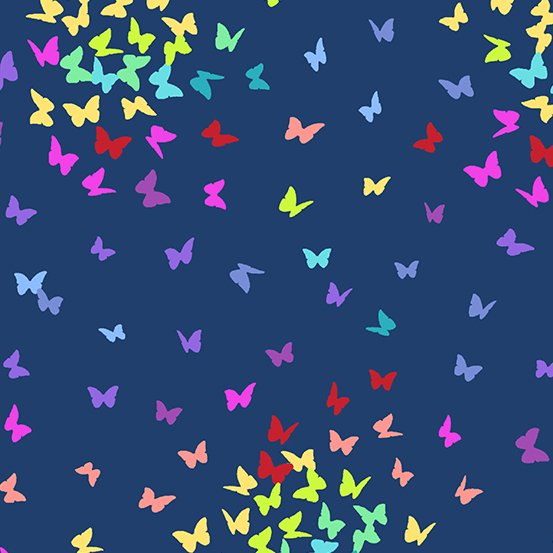 Rainbow butterfly flight on navy
