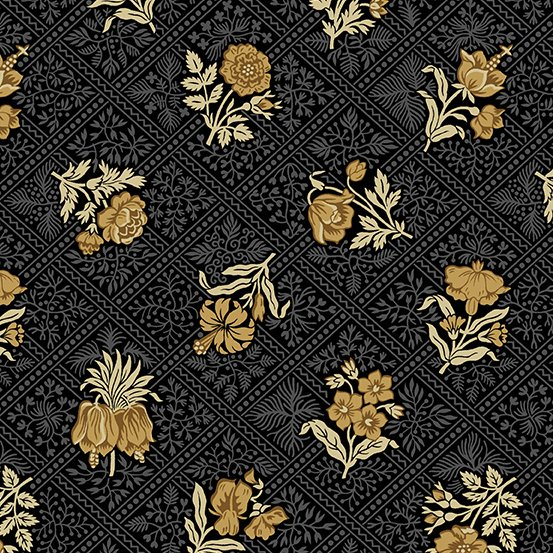Tossed gold flowers on black