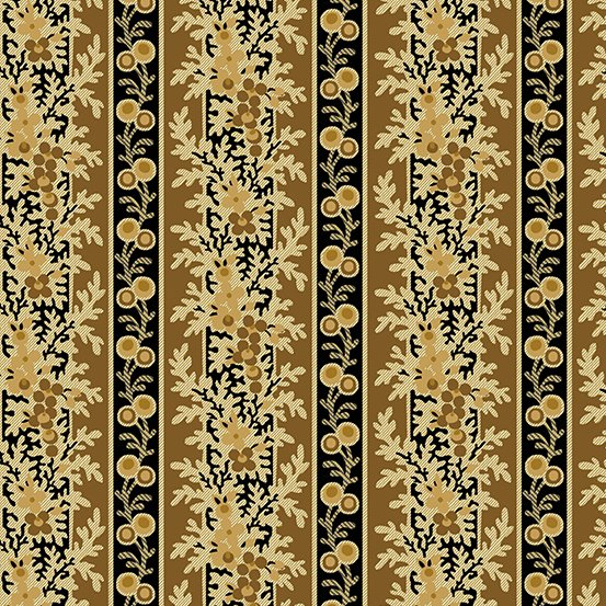 Gold & black climbing floral stripe