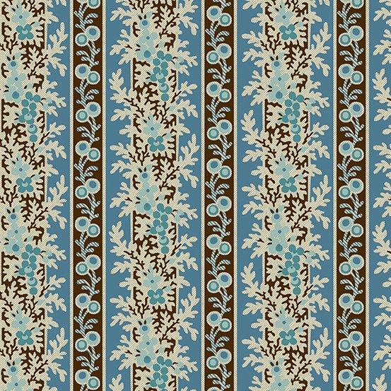 Blue climbing floral stripe