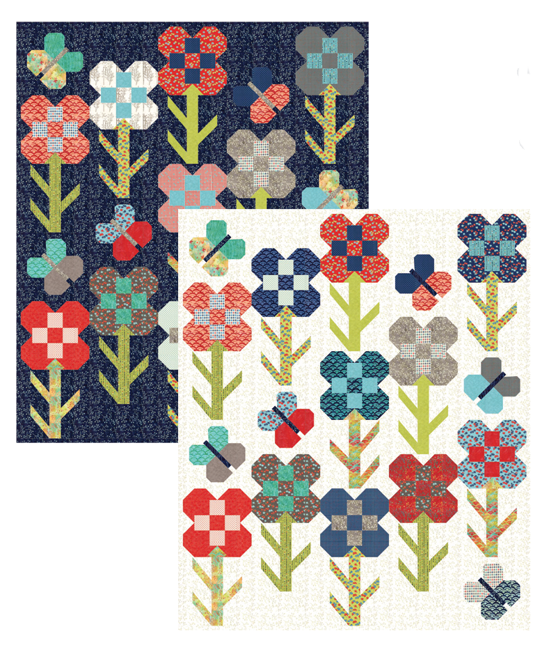 Dandy Flower quiltalong kit featuring Sunday Drive--navy background