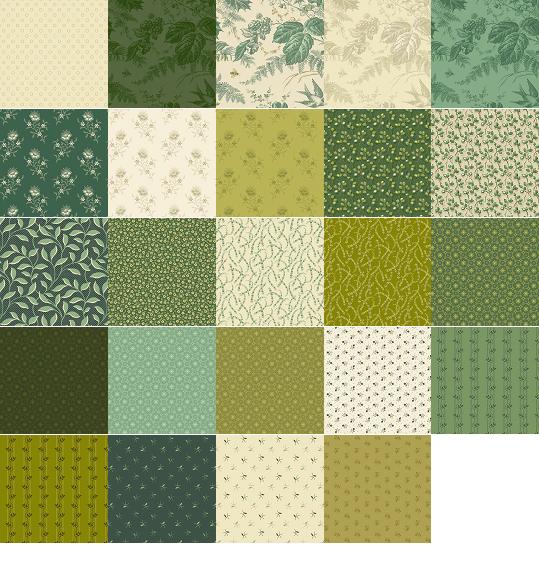 A half yard bundle of Evergreen