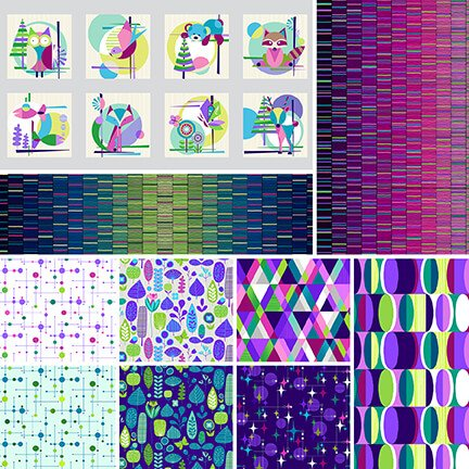 A half yard of Mid-Century Modern prints