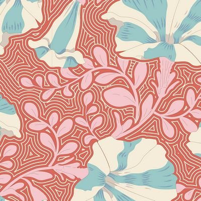 Coral striped petunia
