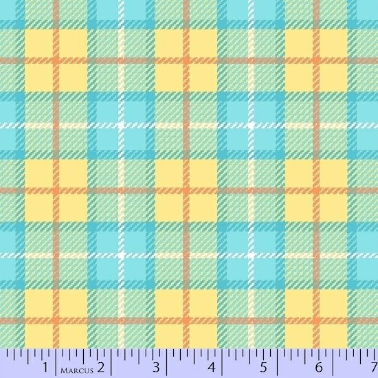 Yellow and turquoise flannel plaid