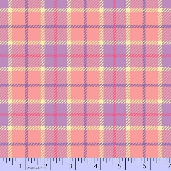 Coral and lavender flannel plaid