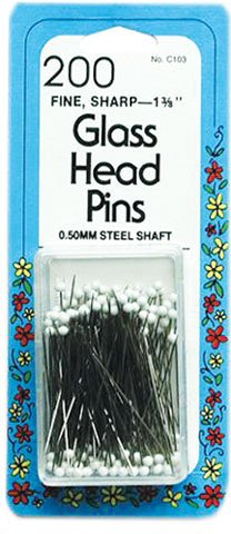 200 1-3/8 in Glass Head Pins
